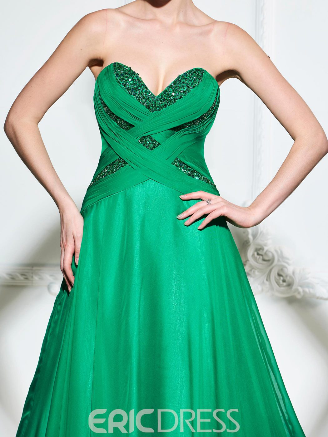 Ericdress A Line Sweetheart Sequin Beaded Long Evening Dress