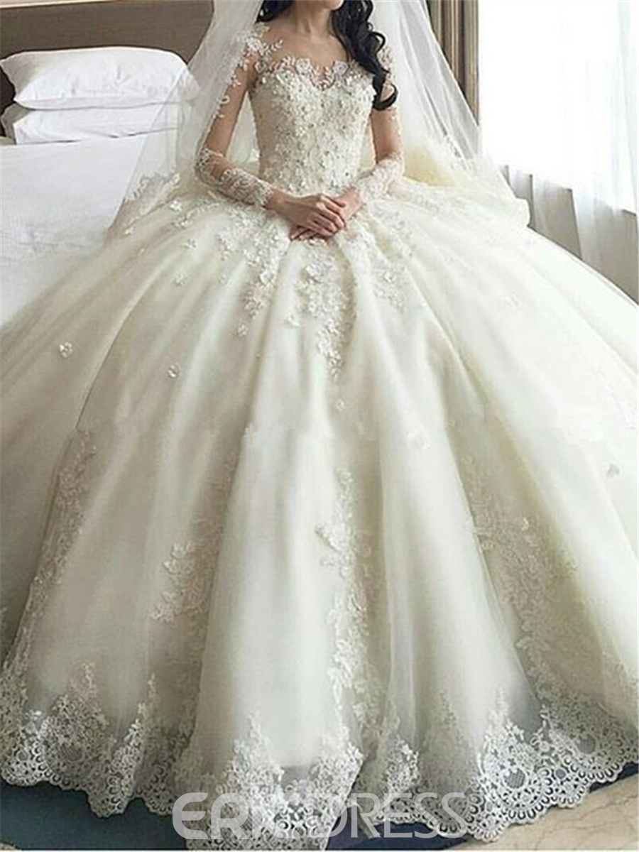Ericdress Scoop Appliques Long Sleeves Ball Gown Wedding Dress ...