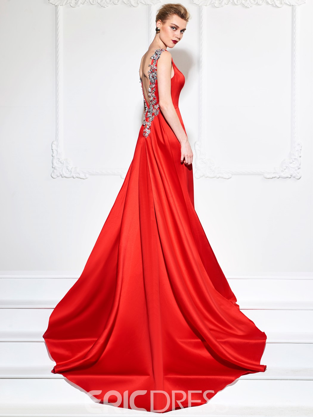 Ericdress Sheath Sequins Appliques Evening Dress With Train