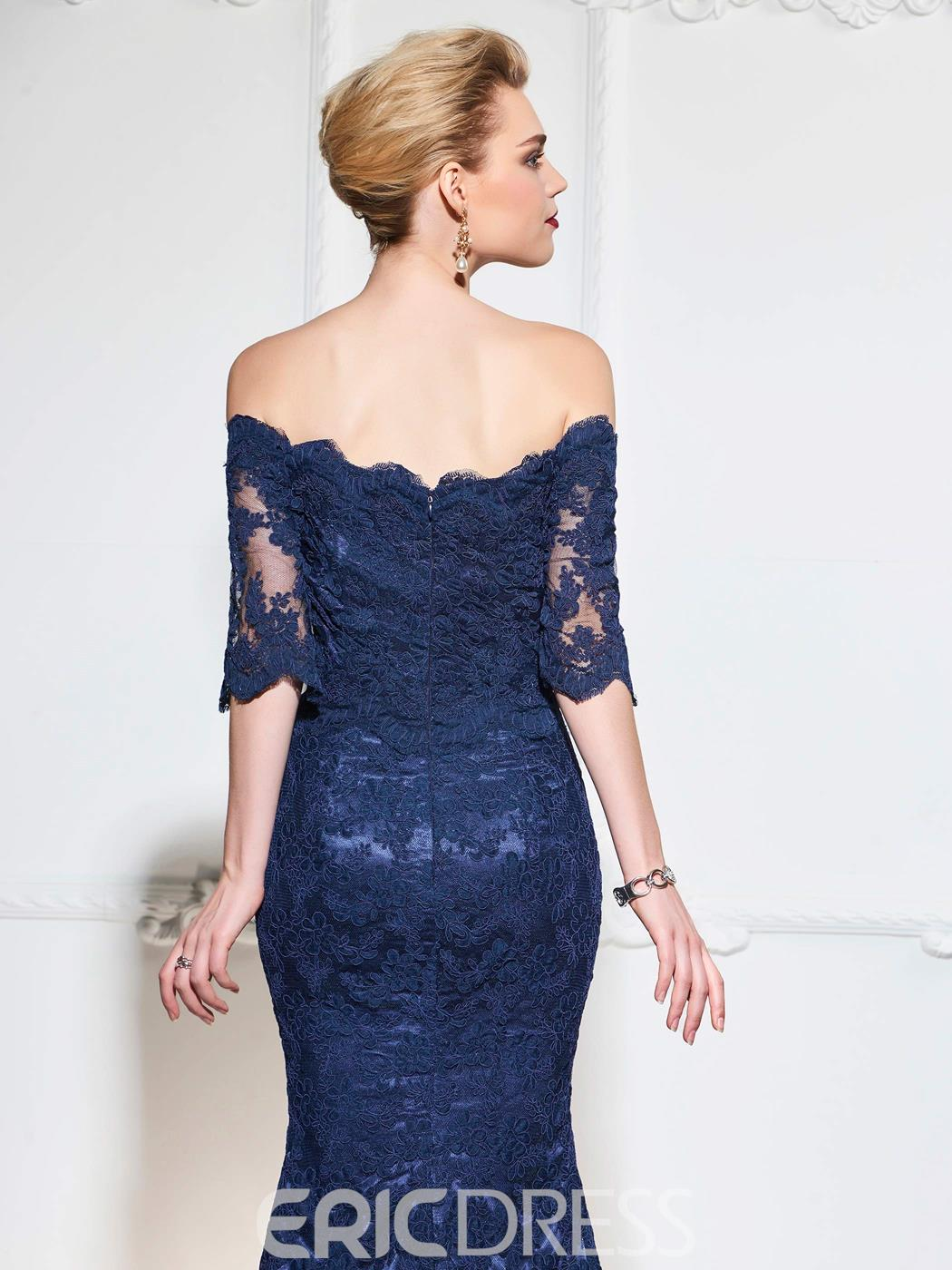 Ericdress Off The Shoulder Half Sleeve Lace Mermaid Evening Dress