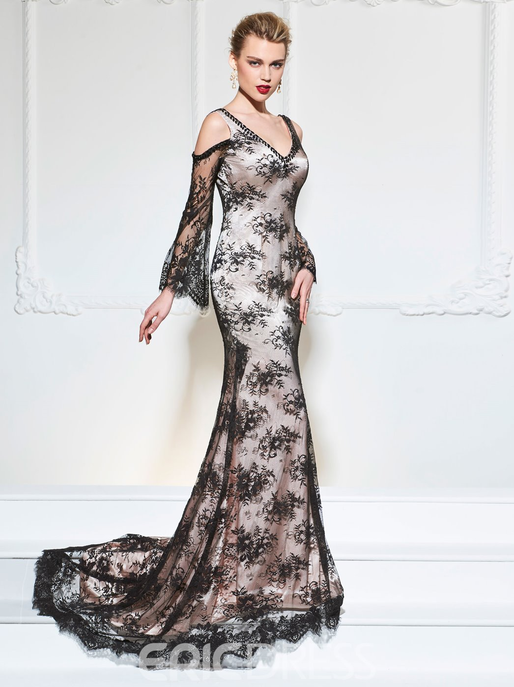 Ericdress Long Sleeve V Neck Mermaid Lace Evening Dress