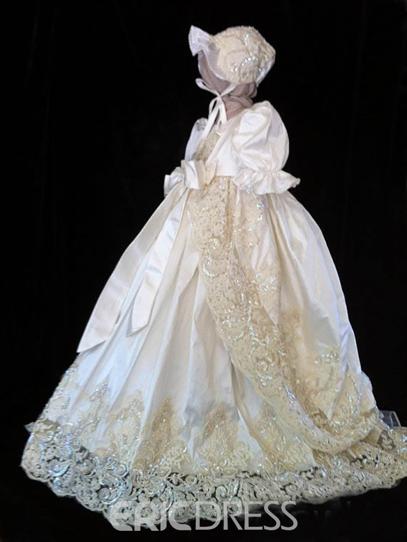 Ericdress 2 Pieces Beading Lace Girls Christening Gown with Bonnet Jacket