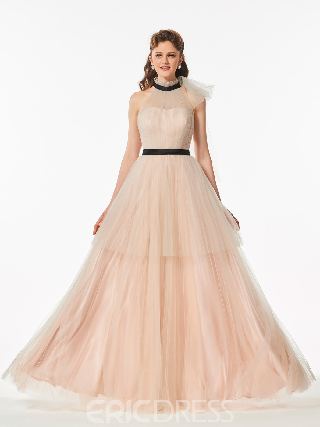 Ericdress A Line High Neck Layers Tulle Long Prom Dress
