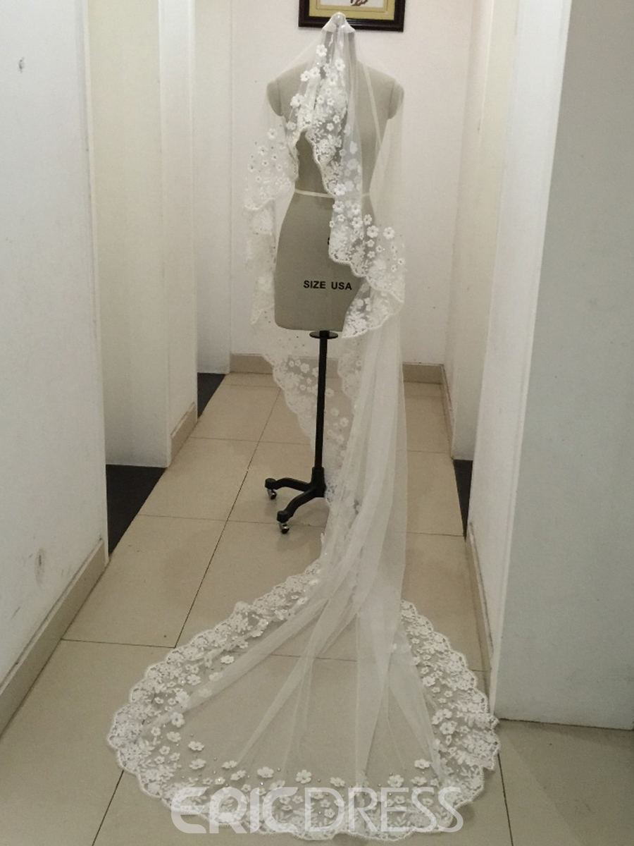 Ericdress Beautiful 3D Flowers Lace Wedding Cathedral Veil with Beading