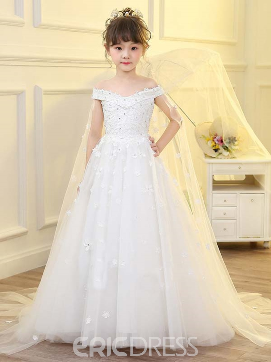 f24be611d80 Ericdress Off The Shoulder Ball Gown Tulle Flower Girl Dress ...