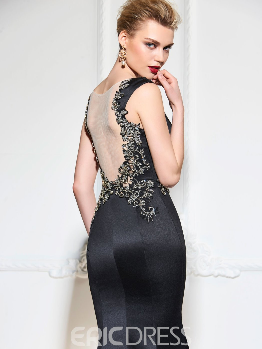 Ericdress Cap Sleeve Beaded Crystal Mermaid Evening Dress With Court Train