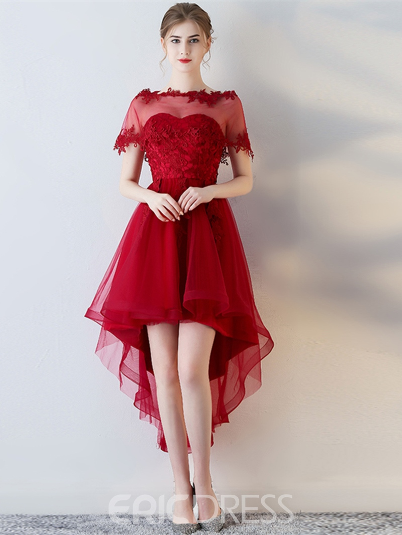 Ericdress A Line Off The Shoulder Short Sleeve High Low Homecoming Dress