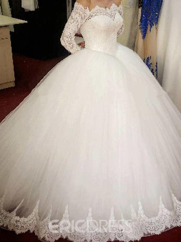 Ericdress Lace Ball Gown Long Sleeves Wedding Dress
