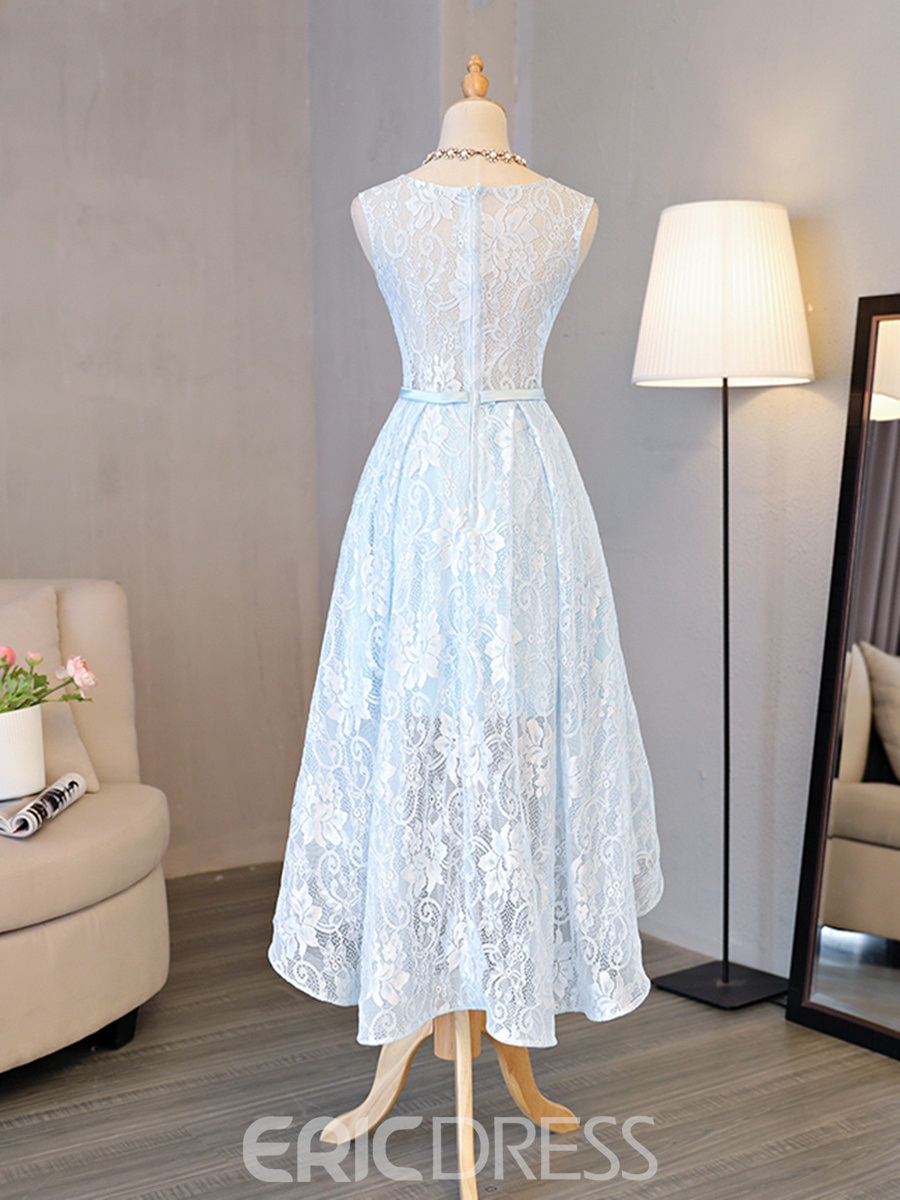 Ericdress A Line HIgh Low Asymmetry Lace Homecoming Dress