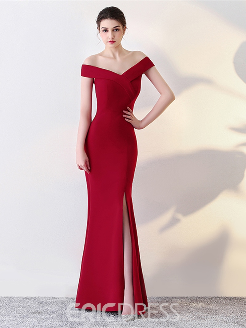 Ericdress Sheath Off The Shoulder Evening Dress With Slit