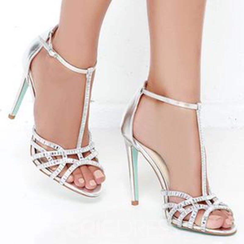 Ericdress T-Shaped Buckle Hollow Heel Sandals