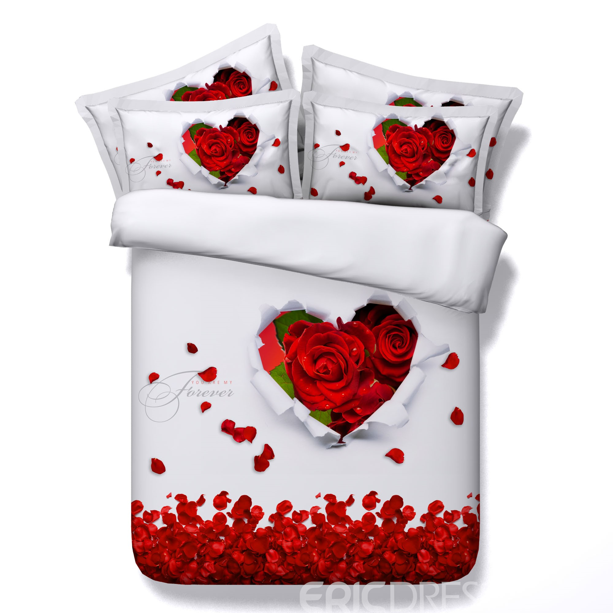 Vivilinen 3D Heart-shaped Red Rose and Petals Printed 4-Piece White Bedding Sets