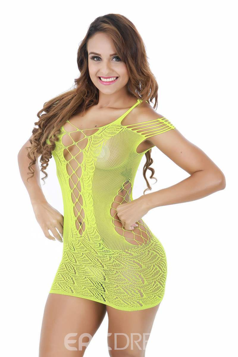 Ericdress Hollow Plain Nightgown Fishnet Tights Babydolls
