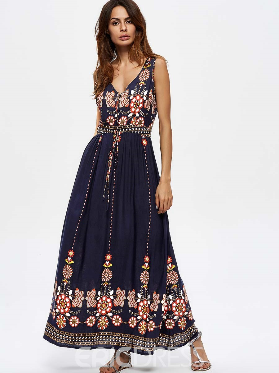 Ericdress Floral V-Neck Sleeveless Maxi Dress