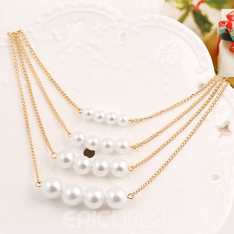 Ericdress Hot Multilayer Pearl Pendant Charm Necklace