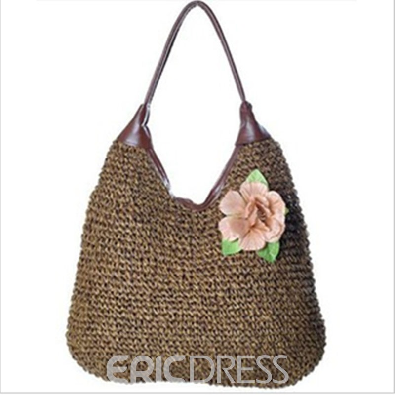 Ericdress Flower Adornment Knitted Tote Bag