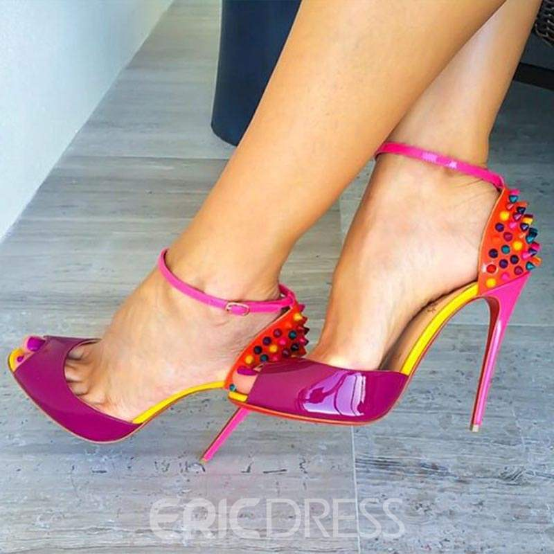 Ericdress Color Block Rivet Heel Sandals