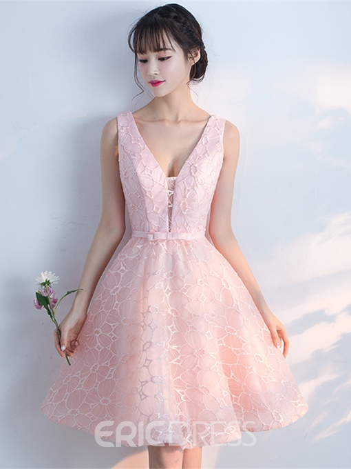 Ericdress Short A Line V Neck Lace Knee Length Homecoming Dress