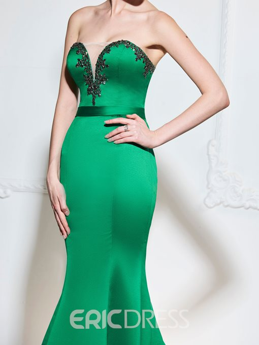 Ericdress Beaded Sweetheart Mermaid Evening Dress With Court Train