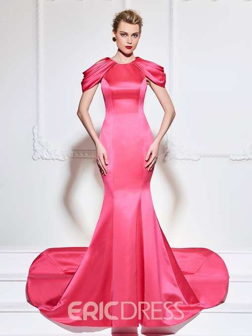 Ericdress Cap Sleeve Mermaid Evening Dress With Court Train