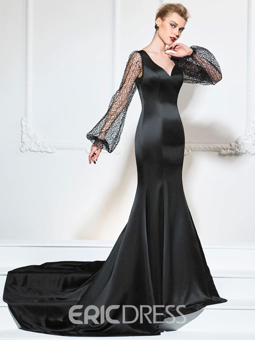 Ericdress Lace Long Sleeve Mermaid Evening Dress