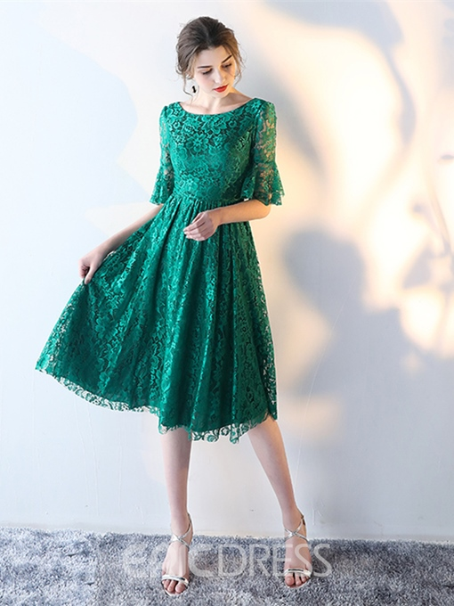 Ericdress A Line Short Sleeve Lace Knee Length Homecoming Dress