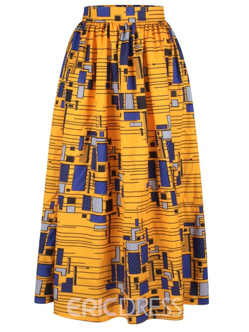 Ericdress Dashiki Pleated Print Usual Skirts
