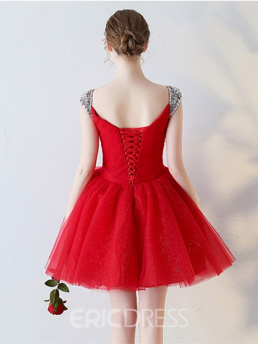 Ericdress A Line Beaded Cap Sleeve Short Homecoming Dress