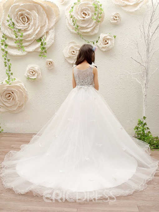 Ericdress Scoop Ball Gown Beaded Tulle Flower Girl Dress