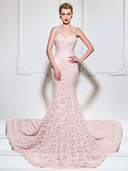 Ericdress Beaded Strap Lace Mermaid Evening Dress With Court Train