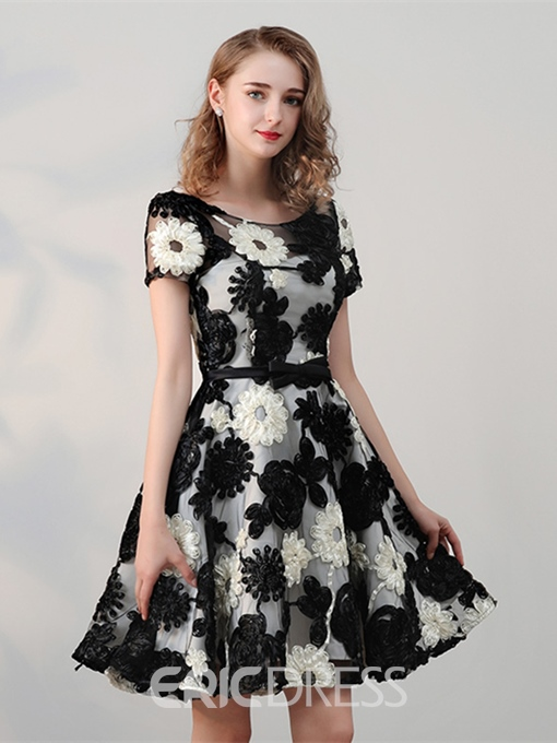 Ericdress A-Line Cap Sleeves Bowknot Flowers Mini Homecoming Dress