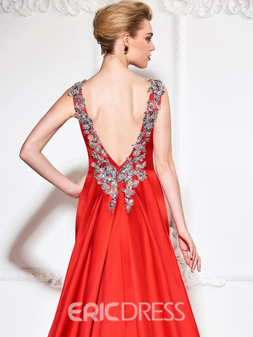 Ericdress Sheath Beaded Backless Evening Dress With Chapel Train