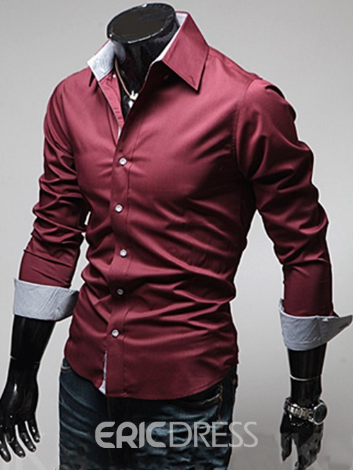 Eericdress Men's Plain Lapel Single Breasted Slim Fit Shirts