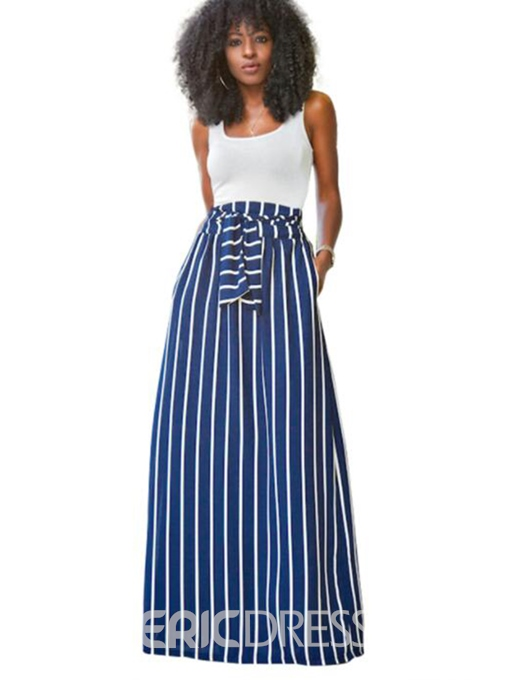 Ericdress Patchwork Lace-Up Striped Women's Two Piece Set