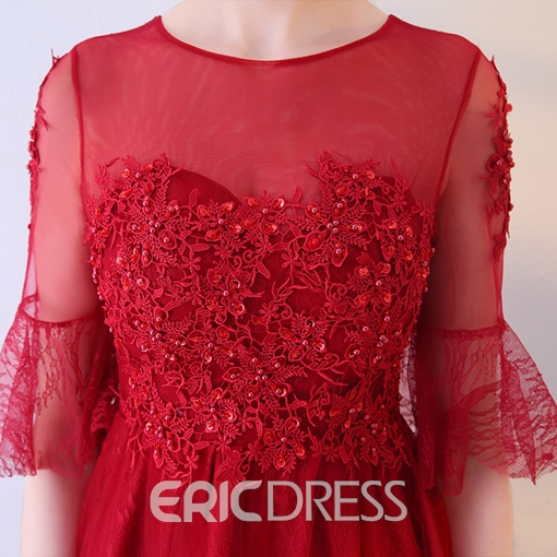 Ericdress A-Line Half Sleeves Appliques Lace Mini Homecoming Dress