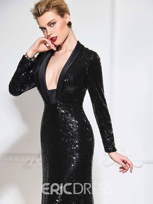Ericdress Long Sleeve Deep Neck Sequin Mermaid Evening Dress With Court Train