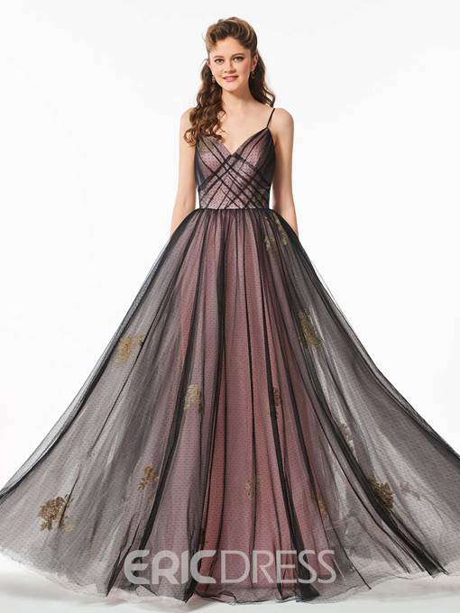 Ericdress A Line Spaghetti Straps Dot Tulle Long Prom Dress