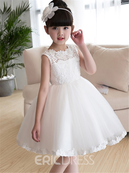 Ericdress Tulle Lace Knee Length Flower Girl Dress