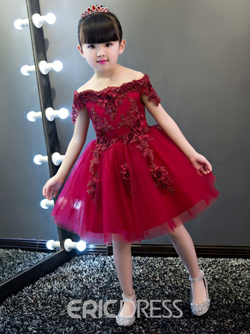 Ericdress Off The Shoulder Short Sleeves Appliques Knee Length Flower Girl Party Dress
