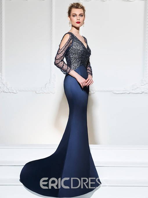 Ericdress 3/4 Sleeve Beaded Mermaid Evening Dress With Sweep Train