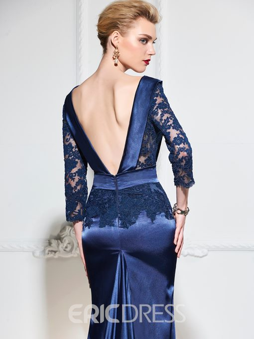 Ericdress 3/4 Lace Sleeve Backless Mermaid Evening Dress With Train