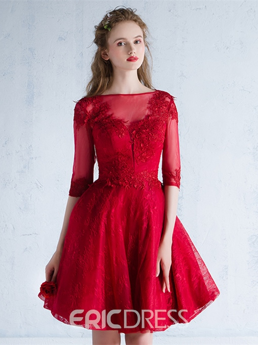 Ericdress Appliques A-Line Lace Mini Homecoming Dress With Half Sleeves