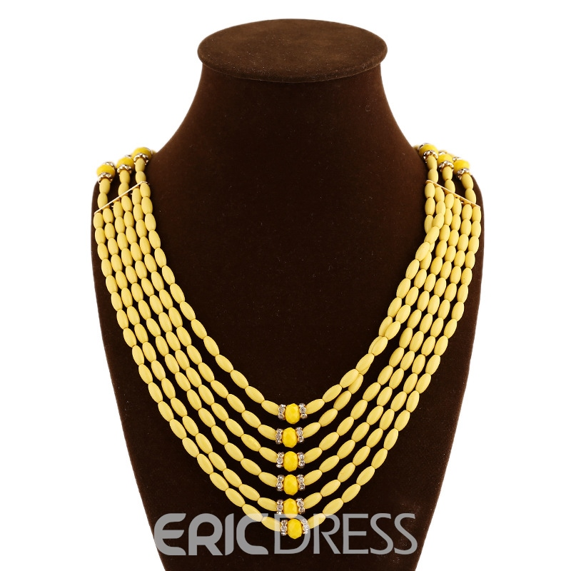 Ericdress Handmade Knitted AcrylicTassel Long Necklace