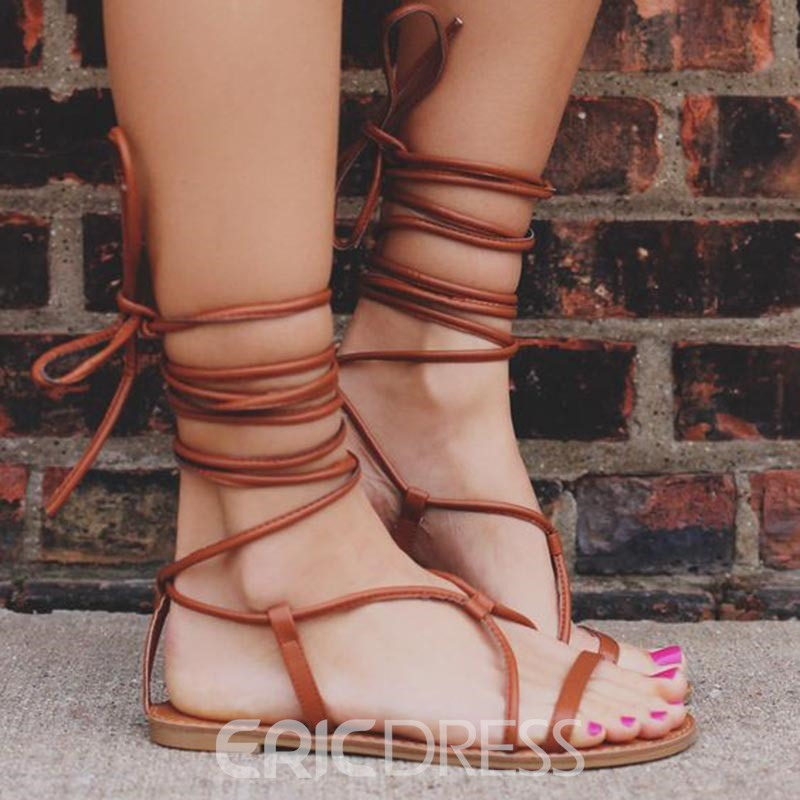 Ericdress Open Toe Lace-Up Flat Sandals