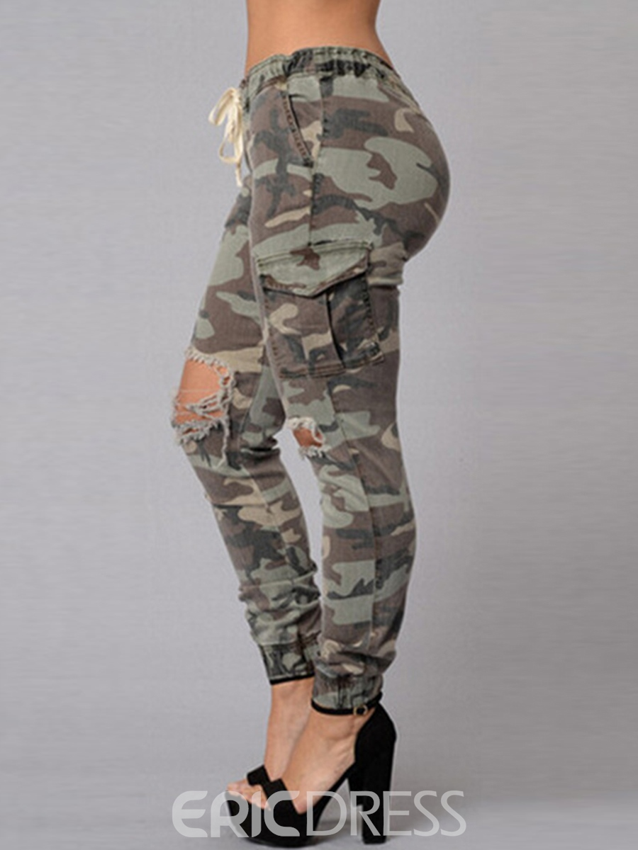 Ericdress Camouflage Printed Strap Ripped Jeans