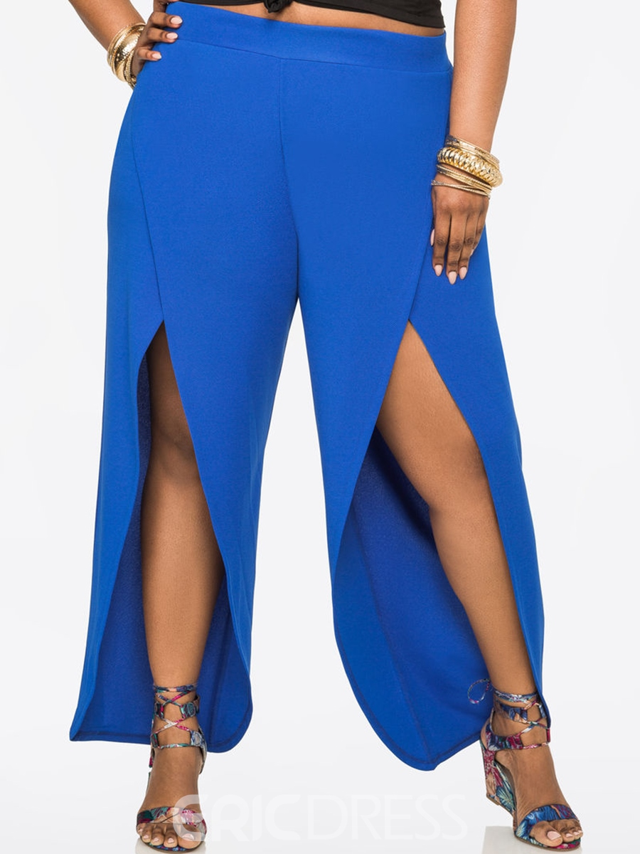 Plus Size Elastics Wide Legs Pants