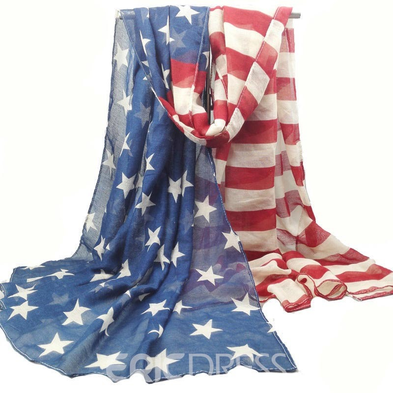 Ericdress Fashionable Stars and Stripes Voile National Flag Scarf