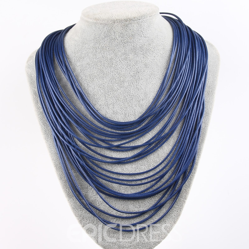 Ericdress Personality Soild Color 26 Pieces Leather Rope Necklace