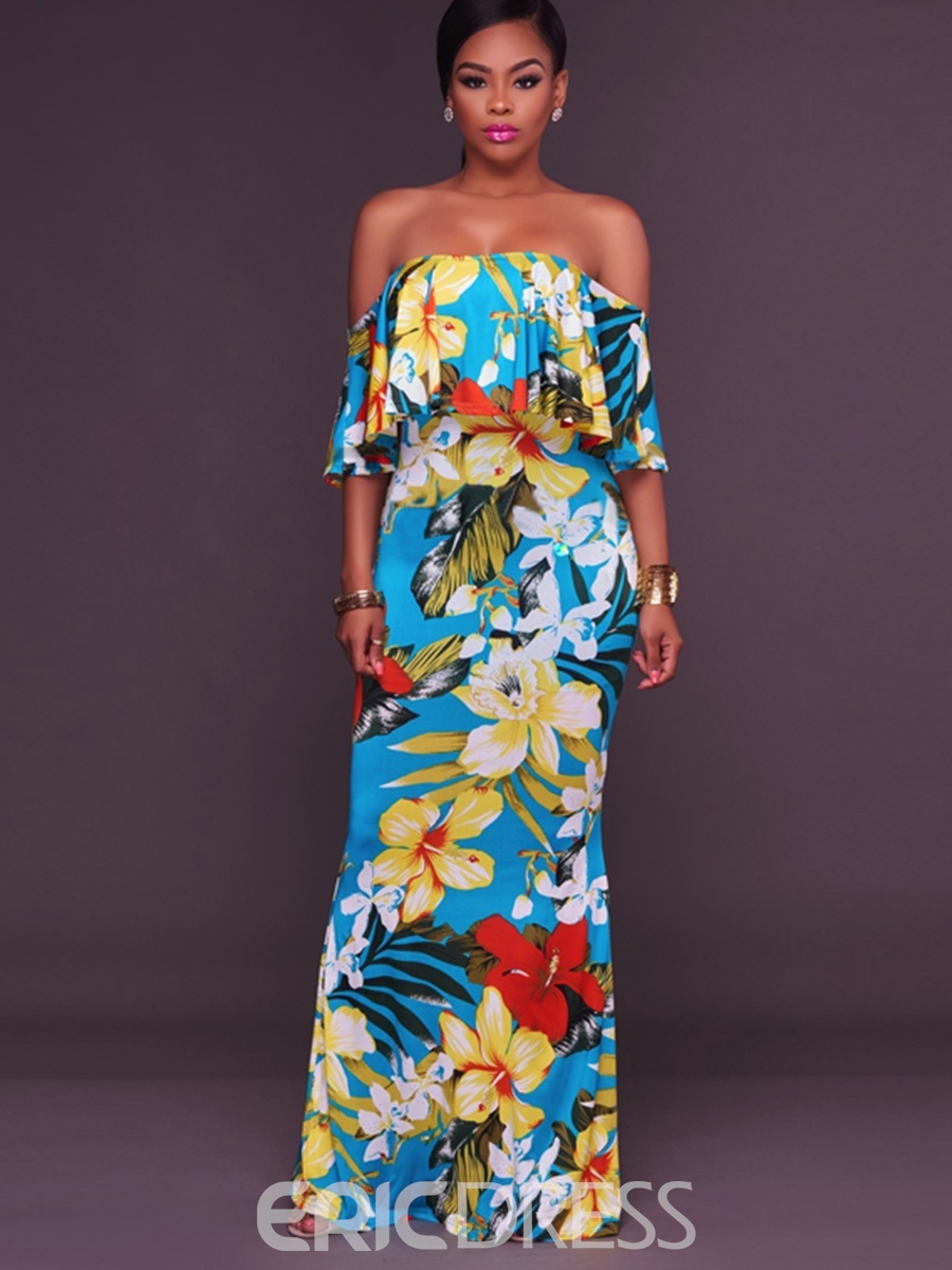 Ericdress Slash Neck Ruffle Sleeve Print Maxi Dress