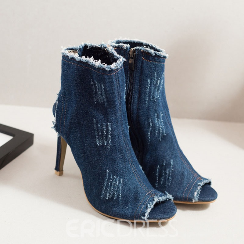 Ericdress Denim Peep Toe Stiletto Sandals